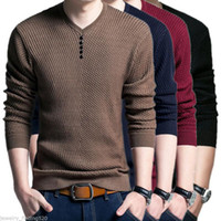 Wholesale Wool Shirt 4xl - Wholesale- Plus Size M-4XL Mens V Neck Sweater Men Long Sleeve Shirt Sweaters Wool Casual Cashmere Knit Pullovers 14 Colors