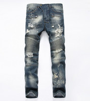 Wholesale Tight Cropped Jeans - Famous Distressed patches Biker Cargo Jeans stretch Demin jeans Hiphop Cropped Pants with Extreme ripped Straight Tight Plus size 28~38