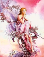 Wholesale Crosses Home Decor Wholesale - New 5D DIY Diamond Painting Butterfly Fairy Mosaic Crystal Round Rhinestone Portrait Embroidery Beauty Home Decor Cross Stitch