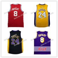Wholesale B Logo - Men Mesh #24 Bryant basketball jerseys Throwback Adult male K B #8 jerseys Youth Kid Bryant #8 jersey Embroidery Logos Free Shipping