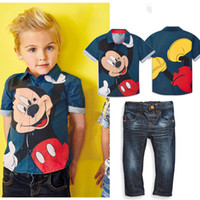 Wholesale Boys 24 Months Jeans - boys two-piece suits mickey mouse Open collar shirt+fashion jeans suits for boys gentleman spring summer short sleeves clothing sets retail