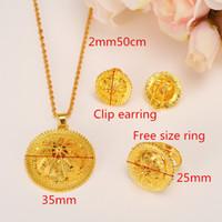 e 14k de oro al por mayor-Habesha Peak Jewelry set N B E etíope boda nupcial 14 k amarillo sólido oro lleno colgante pendientes anillo por mayor