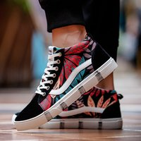 Wholesale Flooring Patterns - Trendy new VAN high to help men's casual shoes classic pattern blue red Canvas Shoes Mens Sneakers Skateboarding Shoes