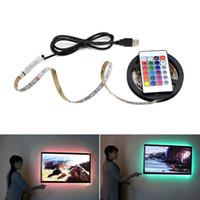 Wholesale 12 Tv Monitor - DC 12 5V USB LED Strip light 50cm 100cm 200cm 3528 SMD RGB Decoration Monitor LCD TV Background lighting LED lamp Tape Ribbon