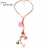 Wholesale Trendy Sweaters For Women - Trendy Leather Tassel Long Sea Star Collar Necklaces & Pendants Fashion Jewelry For Women Sweater Necklace Decoration DN3002