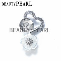 Wholesale sterling pendant mounting - 5 Pieces Pendant Charm White Shell Flower Heart Pendant Jewelry Findings 925 Sterling Silver DIY Mount