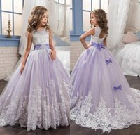 Wholesale Royal Blue Rhinestone Crystal Ribbon - 2017 New Princess Tulle Purple Ball Gown Flower Girls' Dresses With Bow Lace Appliques Crystal Sweep Train Girl Pageant Party Dresses