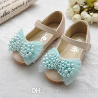 Wholesale Tulle Wedding Shoes - Baby Girls Leather Shoes 2017 Spring Kids Girls Pearl Sandals Infant Girl Tulle Bow First Walkers Princess Flat Dress Shoes S717