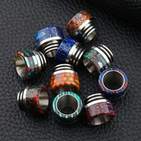 Wholesale tfv8 drip tip stainless resale online - Snake Skin Grid Pattern Thread Epoxy Resin Stainless Steel Drip Tips Wave Wide Bore SS Mouthpiece TFV8 TF12 Kennedy Goon