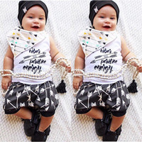 Wholesale Baby Boy Vest 18 24 - Ins 2017 Baby Boy Clothes 2piece Sets Infant Toddlers Letter Print T-shirt Vest Tops + Anchor Pants Outfits - Good Vibes Positive Energy