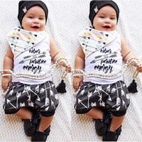 Wholesale Toddler Boys Vests - Ins 2017 Baby Boy Clothes 2piece Sets Infant Toddlers Letter Print T-shirt Vest Tops + Anchor Pants Outfits - Good Vibes Positive Energy