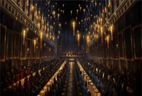 vinil zeminler toptan satış-7x5FT Harry Potter Hogwarts Yemek Salonu Öğle Yemeği Mumlar Özel Fotoğraf Stüdyosu Arkaplan Backdrop Afiş Vinil 220 cm x 150 cm
