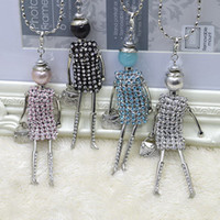 Wholesale Kids Stone Necklace - Promotion Sales !!! New Fashion French Kids stones doll Pendant Necklace Jewelry women long necklace wholesales free shipping