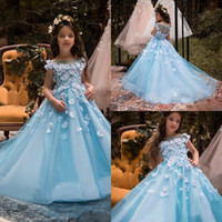 ingrosso bambine blu bambina si veste-Blue Flower Girl Dresses For Weddings Cap Sleeve 3D Floral Flowers Beads Little Baby Ball Gown Puffy Gonne abiti da spettacolo di communion