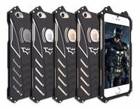 Wholesale Skeleton Phone Cases - Armor Heavy Dust Metal Aluminum CNC BATMAN protect Skeleton head phone shell case cover+BATMAN bracket For Iphone 7 7plus 6 6s 6plus