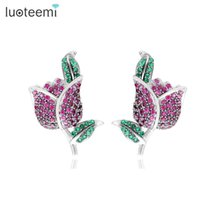 Wholesale Red Corundum - LUOTEEMI Brand New Fashion Red   Blue Corundum Stud Earrings Hot Sale Classic White Gold-Color Rose Flower Earring For Women