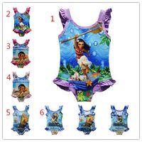 Wholesale Dhl Swimsuit - Moana Girls One-Pieces Swimsuit 2017 New BABY cartoon Swimwear Moana printing Bikini swimwear 6 Styles DHL free shipping