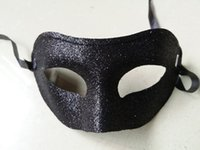 Glitter Encantador Fox Shape Zorro Bandit Máscara Fantasma para Mardi Gras Party Mask Costume Decoração Costum Masquerade Theme (Black)