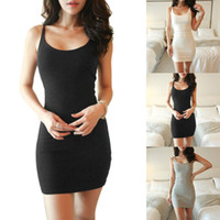 Wholesale short sexy slip dresses - Womens Casual Dresses Sexy Bodycon Casual Sleeveless Evening Party Cocktail Short Mini Dress Best Item Fashion Vest skirt Slip Dress 4 Color