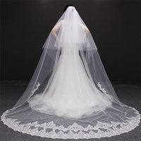 Wholesale Two Tier Lace Cathedral Veil - 2 Tiers Wedding Veil With Sequins Lace 3 Meters High Quality Tulle 2 Layer Bridal Veil with Metal Comb Wedding Accessories NV7108