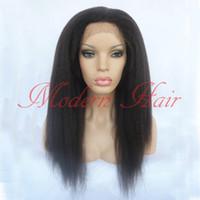 Wholesale Long Black Lace Wig Yaki - Long Kinky Straight Synthetic Lace Front Wigs Light Italian Yaki Synthetic Full Lace Wig Heat Resistant Fiber Glueless Swiss Lace Wigs