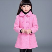 Wholesale Double Breasted Jackets For Kids - Long Woolen Parkas Solid Double-breasted Coat For Girls Korean Children's Clothing 2017 New Winter Kids New Arrivals Jacket 4490