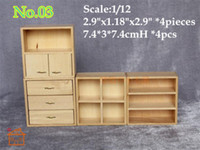 Wholesale Living Room Wooden Cabinets - 1 12 Dollhouse Miniatures Display Shelf Wood Hutch Cabinet Living Room  Doll house mini furnitures accessory Room Decor  QQ_dollhouse Toy