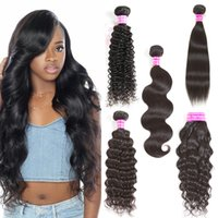 Wholesale Cambodian Virgin Curly Weave - Brazilian Body Wave Virgin Hair Bundles Peruvian Straight Water Wave Deep Curly Virgin Hair Extensions Best Sale Cheap Human Hair Weave Weft