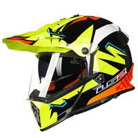 ls2 kapalı yol kaskları toptan satış-MX436 ücretsiz kargo yarış LS2 Motosiklet Kaskı çift lens profesyonel off-road kask cascos para moto Yol