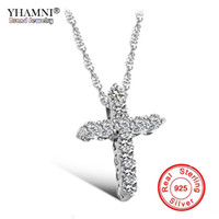 Wholesale silver cross pendants for women - YHAMNI Luxury Original 925 Sterling Silver Cross Pendant Necklace Princess Luxury Diamond Necklace Pendant for Ladies and Women N10