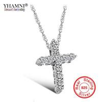 prinzessin silber großhandel-YHAMNI Luxus Original 925 Sterling Silber Kreuz Anhänger Halskette Prinzessin Luxus Diamant Halskette Anhänger für Damen und Frauen N10