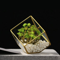 Wholesale Glass Terrariums - The Metal Creative Geometric Glass-topped Pure Handmade Ornaments Planter Terrarium Box Micro Landscape Imitation Flower Style One