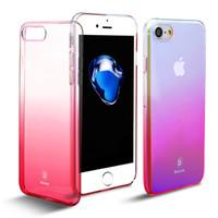 Wholesale Baseus Iphone Case - Baseus Originality Case For iPhone 7 luxury Aurora Gradient Color Transparent Case For iPhone 7 Plus light Cover Hard PC Cases
