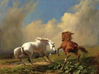 Wholesale free horses painting resale online - Framed red horse and white horse Two horse duel genuine Handpainted Animals Art oil Painting On Thick Canvas Multi sizes HS062