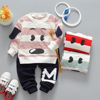 Wholesale Dog Boy Set - 3 Colors Kids Boys Cartoon Sets 2017 Baby Boy Full Sleeve T-shirts + pants 2pcs Outfits Boys Dog Print Suits Children Outwear Clothes