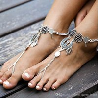 Wholesale Metal Chains For Heart Locks - 60PCS Bohemia Metal Rouind Anklets Fashion Foot Jewelry Chain Tassel Barefoot Sandals Beach Anklets Bracelet For Women Jewelry F30