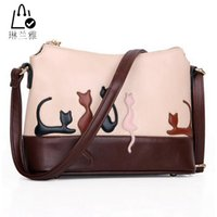 Wholesale-2016 double usage des femmes sacs à bandoulière détachable Cute Cat Rabbit PU cuir garçon épaule Lady Messenger Crossbody Casual Tote