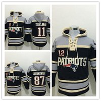 Wholesale Gronkowski Jersey Xxl - Stitched Patriotz Hoody 11 EDELMAN  12 BRADY  87 GRONKOWSKI Black Hockey Men Hoodie Jerseys Ice Jersey Mix Order