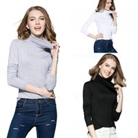 Wholesale Turtle Shirts Wholesalers - Womens Fashion Clothing Autumn Winter Turtleneck Knitt Tops With Long Sleeve Slim Fit Bottoming Shirt LX3654