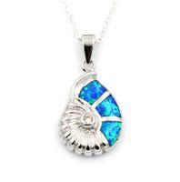 Wholesale Sea Fire - Blue Fire Opal Conch Pendant Necklace Sea World Theme Jewelry