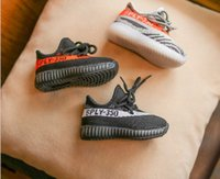 Wholesale Wholesale Black Lace Fabrics - Wholesale kids sneakers girls casual Running Sports Shoes BOYS SHOES 350 V2 black red kanye west shoes size 26-36 drop shipping