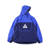 Wholesale Over Coat Jacket - Palace 17SS over park shell top Palace skateboard tide brand stitching jacket male triangle logo high quality jackets coat PALACE Black blue