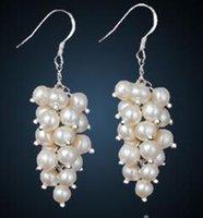 Wholesale Purple Copper Turquoise Earrings - Freshwater pearl earrings female 925 tremella nail eardrop grape