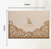 Wholesale Cutting Lasers For Sale - Wholesale-Free Shipping 1 Set Sample Popular Gold Color Laser-cut Bride & Groom Wedding Favor Invitation Card Sample for Sale