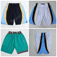 Wholesale Men White Color Pants - Memphis Men 50 Bryant Reeves Basketball Pant Breathable 10 Michael Mike Bibby Shorts Running Team Color White Green Navy Blue Quality