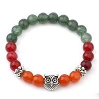 Wholesale Tibetan Jade Bangle - Mix Color Natural Stone Jade Bracelets For Women Tibetan Silver Owl Bracelets & Bangles Vintgae India Natural Stone Bead Jewelry