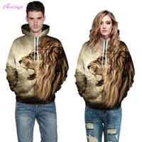 Wholesale Woman Lion Paint - 2017 New Men Women Hooded Sweatshirt 3D Lion Print Hoodie Pullover Cap Paint Hoody Tracksuit Tops Plus Size Casual Streetwear