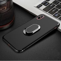 iphone ring ring achat en gros de-Pour iPhone X Soft TPU Case Anti-Knock Back Cover avec 360 Degree Rotate Ring Stand pour iPhone 8 7 Plus 6 6S 50PCS