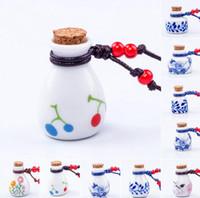 bestellen flaschenkristall großhandel-Heißer Verkauf Keramik Schmuck Wasser Punkt Pfirsich Wunsch Flasche WFN495 (mit Kette) Mischungsauftrag 20 Stück viel