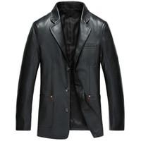 Wholesale Leather Boy Suit - Men Males Boys Casual Fashion Slim Black Long Sleeve Leather Suits Tops Jacket Outwear Clothes 3 Colors 2817